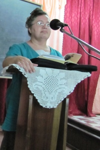 Bonnie teaching ladies in Guyana