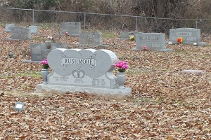 Bonnie's headstone amidst a sea of fallen leaves