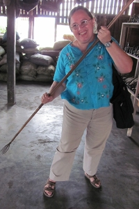 Bonnie with fishing spear in Myanmar (Burma) in 2011